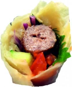 Люля из говядины в лаваше с овощами