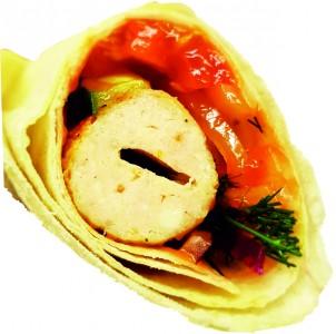 Люля из курицы в лаваше с овощами